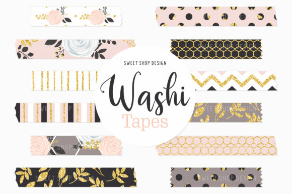 Digital Washi Tape Gold Blush Floral Graphic Illustrations By Sweet Shop Design