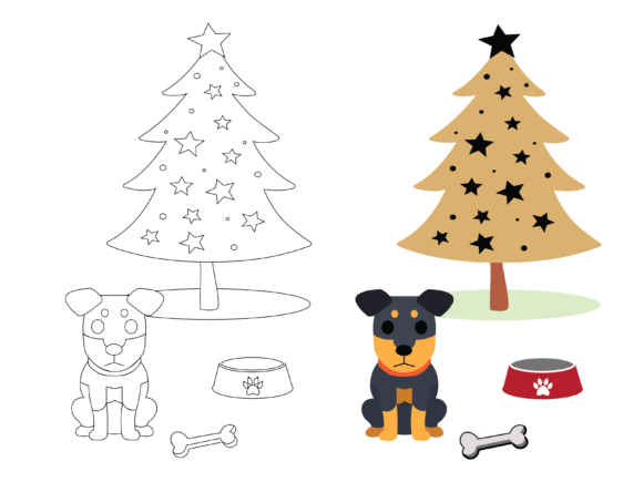 Dog Christmas Coloring Kids Graphic Illustrations By optimasipemetaanlokal