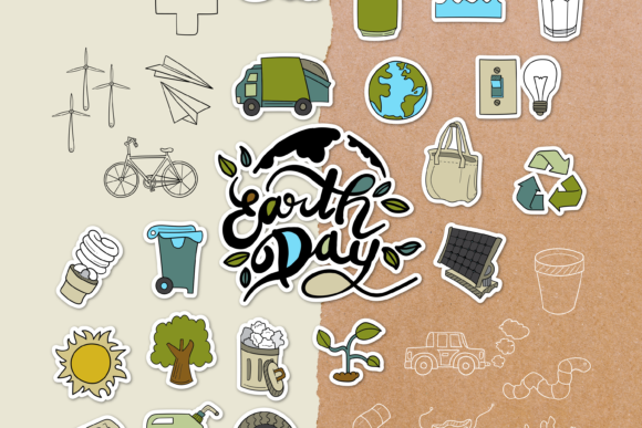 Earth Day Doodle Clipart Pack - 4 Styles Graphic Objects By WADLEN