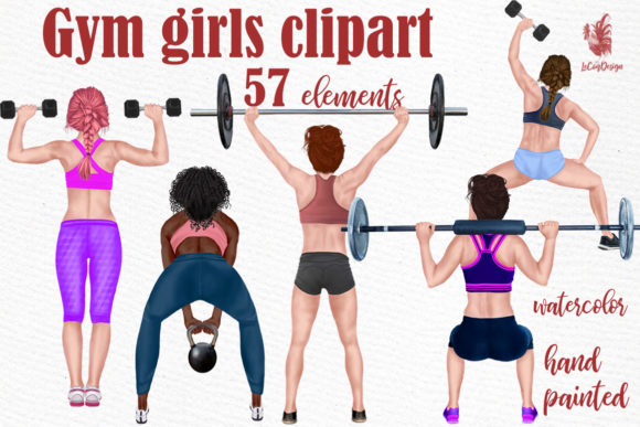 Girls Workout Clipart Grafik Illustrationen von LeCoqDesign