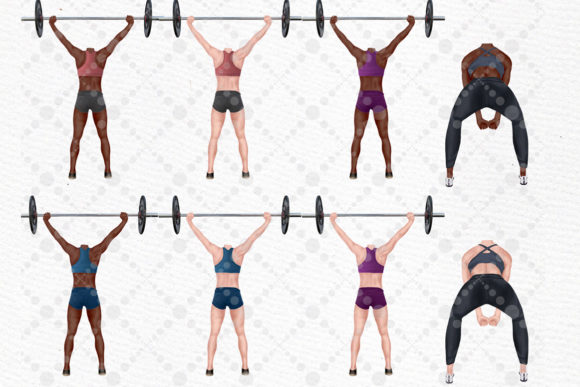 Girls Workout Clipart Graphic Item