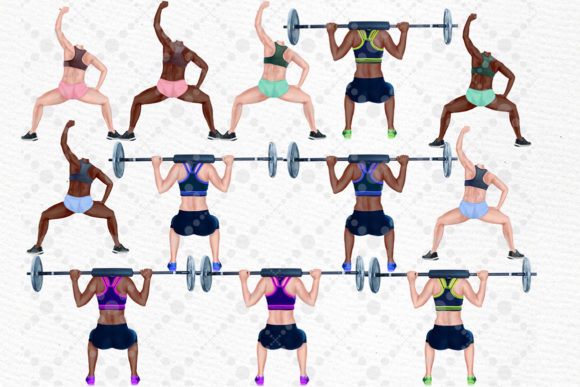 Girls Workout Clipart Graphic Design