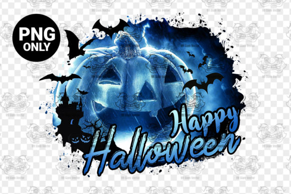 Print on Demand: Halloween, Sublimation Design Blue Graphic Print Templates By 99 Siam Vector