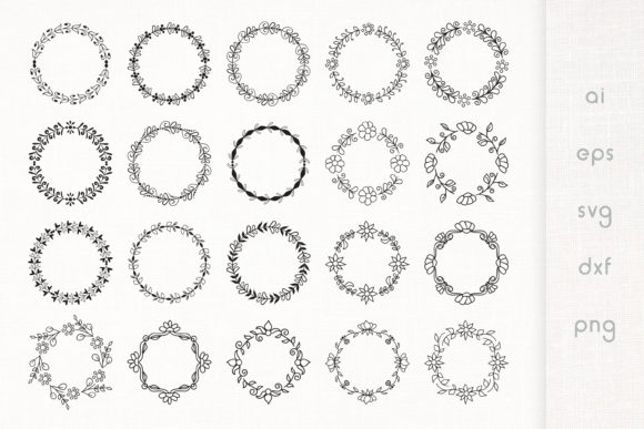 Print on Demand: Hand Drawn Floral Frames Pack of 20 Graphic Illustrations By Dasagani