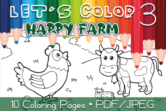 Happy Farm Coloring Pages Graphic Coloring Pages & Books Kids By WADLEN
