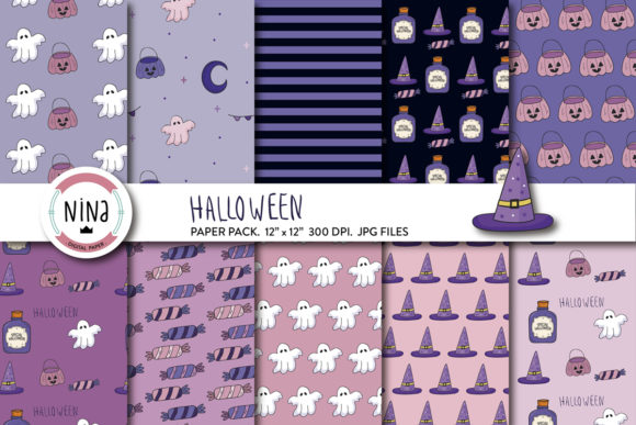 Happy Halloween Digital Paper, Ghost Graphic Patterns By Nina Prints