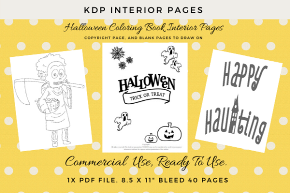 Print on Demand: KDP Halloween 40 Coloring Pages Kids Graphic KDP Interiors By Simpsys Designs  - Image 1