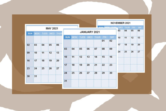 Print on Demand: KDP Interior, 2021 All Months Calendar Graphic KDP Interiors By Designs_by_Shorty