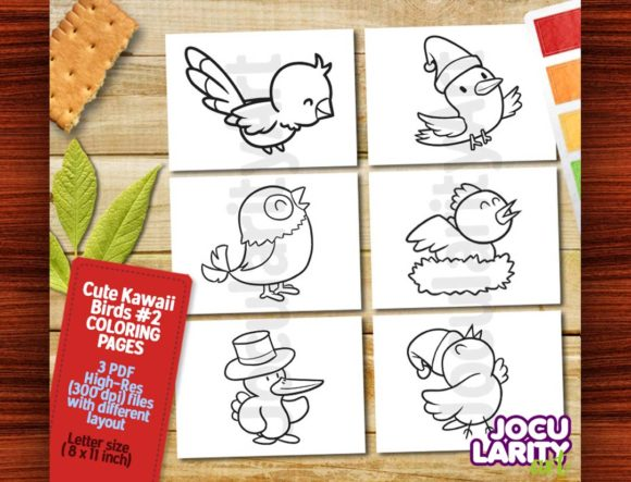 Kawaii Birds Theme #2 Coloring Pages Graphic Coloring Pages & Books Kids By JocularityArt