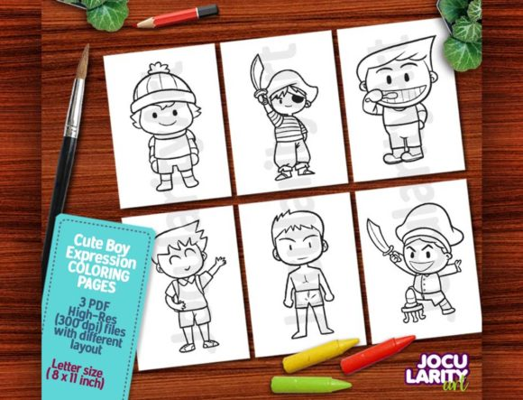 Kawaii Boy's Expression Coloring Pages Graphic Coloring Pages & Books Kids By JocularityArt