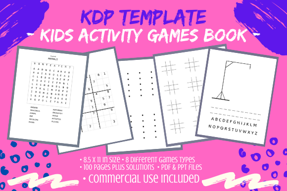 Print on Demand: Kids Mixed Activity Games Book 100 Pages Graphic KDP Interiors By Tomboy Designs
