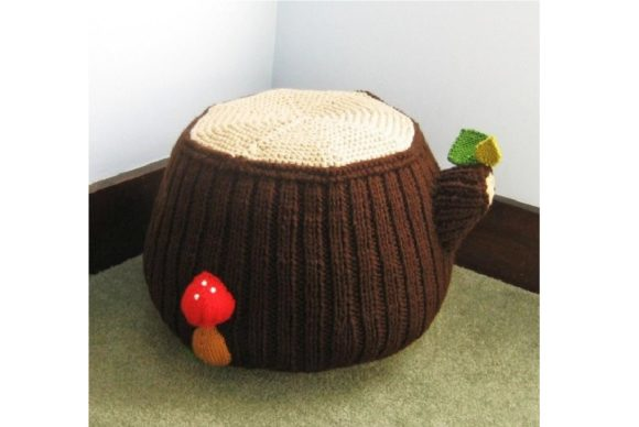 Knit Tree Stump Ottoman Pattern Graphic Knitting Patterns By Amy Gaines Amigurumi Patterns