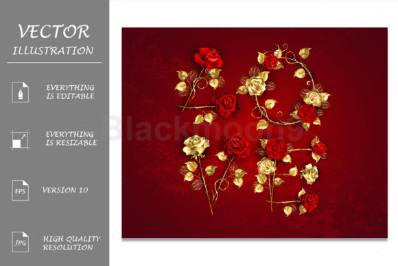 Love from Jewelry Red Roses Grafik Illustrationen von Blackmoon9