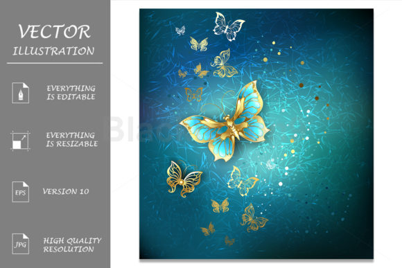 Luxury Gold Butterflies Graphic Illustrations By Blackmoon9