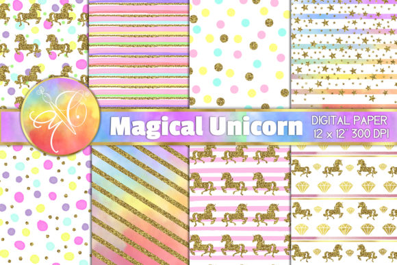 Magical Unicorn Digital Paper Graphic Backgrounds By paperart.bymc