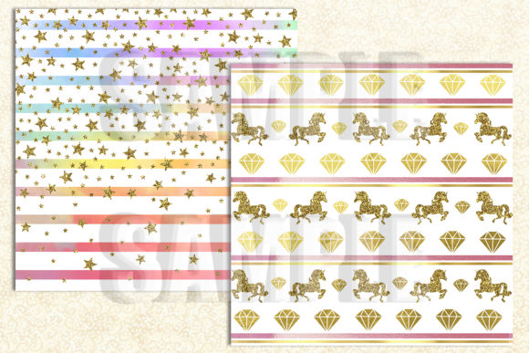 Magical Unicorn Digital Paper Graphic Backgrounds By paperart.bymc - Image 2