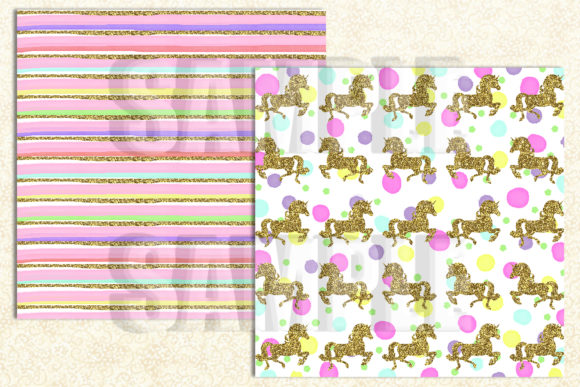 Magical Unicorn Digital Paper Graphic Backgrounds By paperart.bymc - Image 3