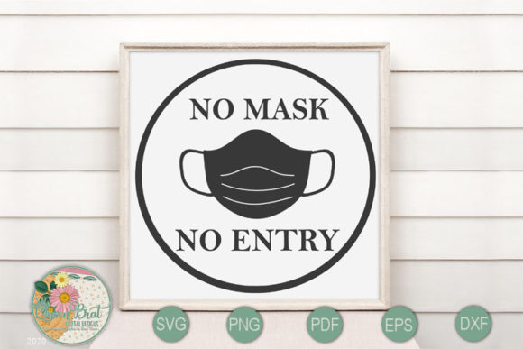 Print on Demand: No Mask No Entry Circle Graphic Crafts By QueenBrat Digital Designs