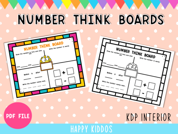 Number Think Boards KDP Graphic 1st grade By Happy Kiddos