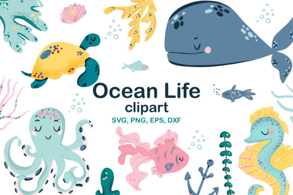 Print on Demand: Ocean Life Clipart Graphic Illustrations By Zolotovaillustrator