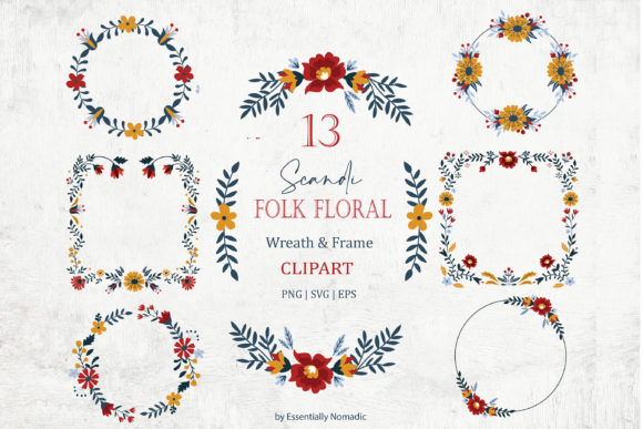 Scandinavian Floral Wreath Frame Clipart Graphic Illustrations By EssentiallyNomadic