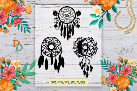 Set Floral Dreamcatcher   Graphic Crafts By denysdigitalshop