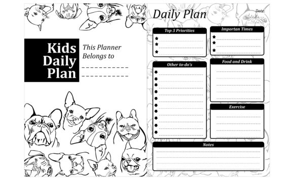 Simple KDP with Dog Line Art Theme Graphic