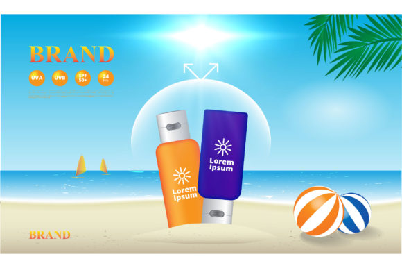 Sunscreen UV Protection on the Beach Bac Graphic Illustrations By nhongrand