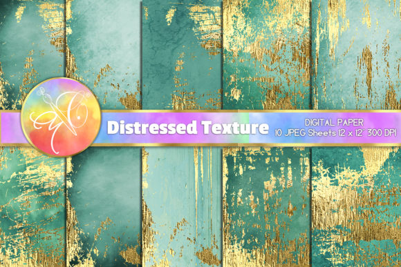 Turquoise Distressed Digital Paper Graphic