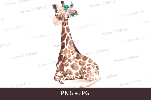 Print on Demand: Watercolor Baby Giraffe Sub Print Graphic Textures By colours_of_wind