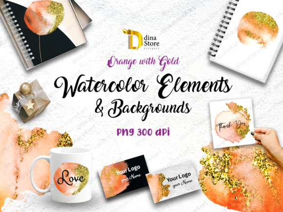 Watercolor Elements & Backgrounds Orange Graphic Backgrounds By dina.store4art