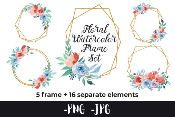 Print on Demand: Watercolor Flower Rose Frame Set Graphic Crafts By AzrielMch