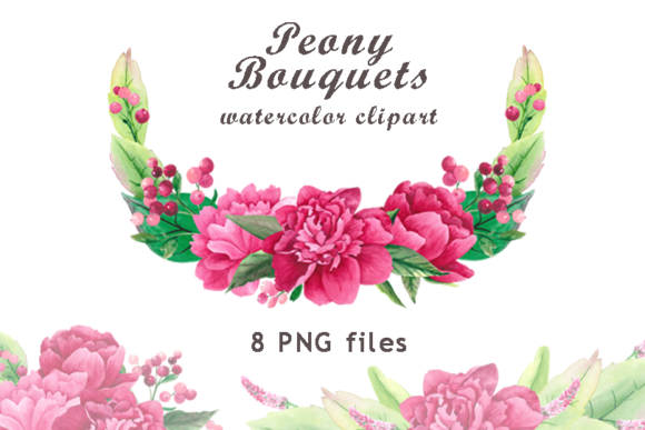 Watercolor Peony Bouquets Clipart Graphic Illustrations By colours_of_wind