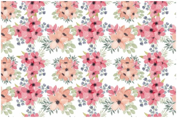 Print on Demand: Watercolor Pink Petal Flower Pattern Graphic Patterns By elsabenaa