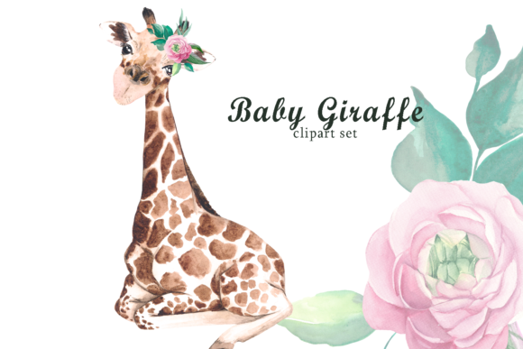 Watercolor Safari Baby Giraffe Clipart Graphic Illustrations By colours_of_wind