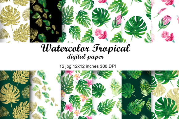 Watercolor Tropical Leaves Digital Paper Graphic Patterns By colours_of_wind