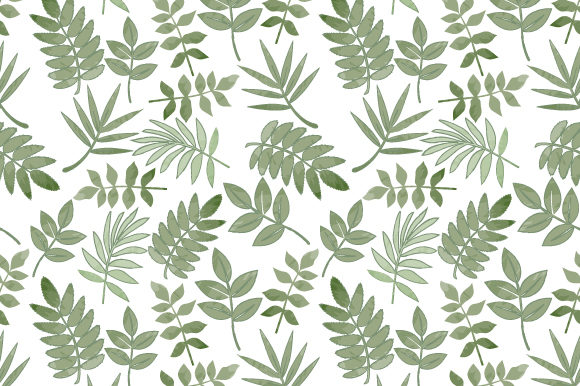 Print on Demand: Green Leaves Pattern Graphic Patterns By curutdesign