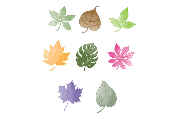 Print on Demand: Nice Leaf with Watercolor Graphic Illustrations By curutdesign