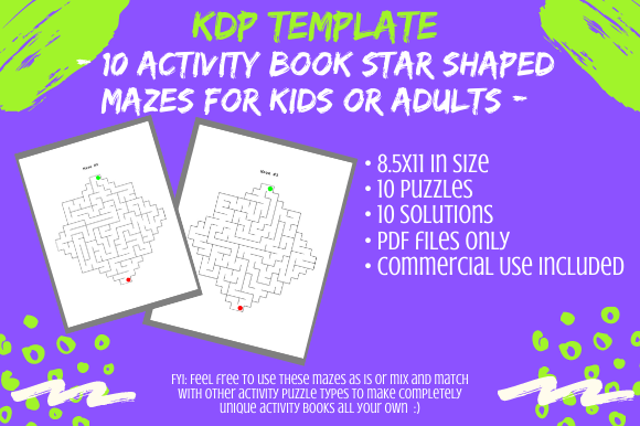 Print on Demand: 10 Star Shaped Mazes for Activity Books Graphic KDP Interiors By Tomboy Designs