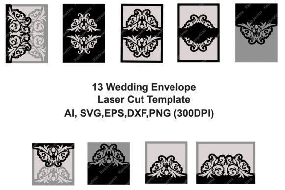 Print on Demand: 13 Wedding Invitation Envelope Laser Cut Graphic Crafts By YAZZIK