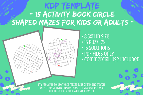 Print on Demand: 15 Circle Mazes for KDP Activity Books Graphic KDP Interiors By Tomboy Designs