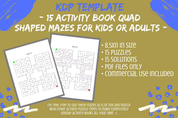 Print on Demand: 15 Quad Shaped Mazes for Activity Books Graphic KDP Interiors By Tomboy Designs