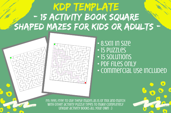 Print on Demand: 15 Square Mazes for KDP Activity Books Graphic KDP Interiors By Tomboy Designs