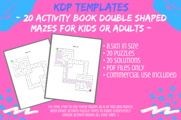 Print on Demand: 20 Double Shaped Mazes for Activity Book Graphic KDP Interiors By Tomboy Designs