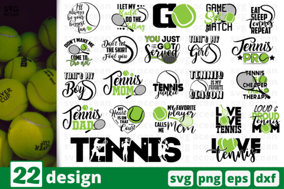 Print on Demand: 22 Tennis Quote Designs Bundle Graphic Crafts By SvgOcean