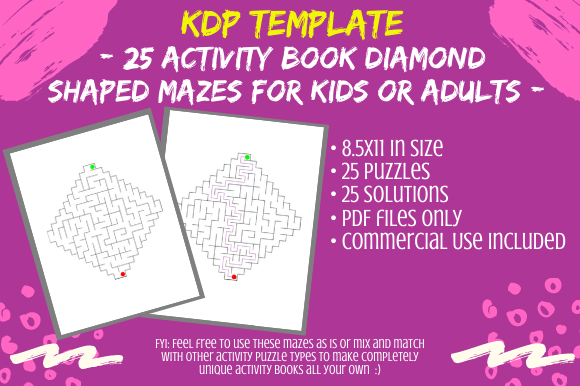 Print on Demand: 25 Diamond Mazes for KDP Activity Books Graphic KDP Interiors By Tomboy Designs