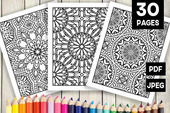 Print on Demand: 30 Abstract Pattern Coloring Pages Graphic Coloring Pages & Books Adults By JM_Graphics - Image 1