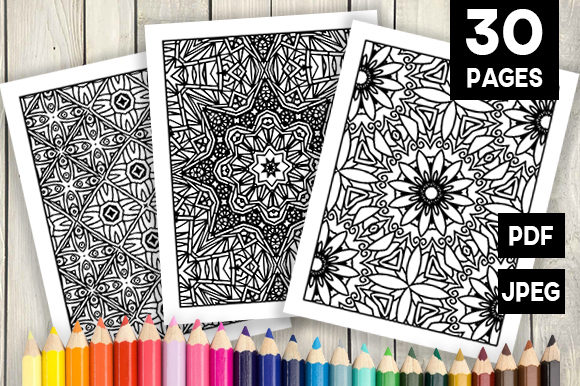 Print on Demand: 30 Cool Abstract Art Coloring Pages Graphic Coloring Pages & Books Adults By JM_Graphics - Image 1
