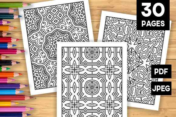 Print on Demand: 30 Geometric Adult Coloring Pages Graphic Coloring Pages & Books Adults By JM_Graphics - Image 1