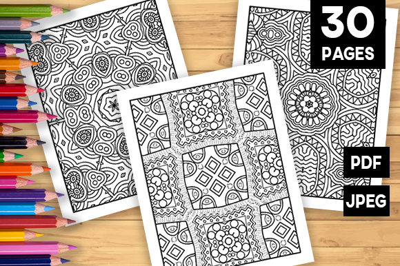 Print on Demand: 30 Lovely Geometric Coloring Pages Graphic Coloring Pages & Books Adults By JM_Graphics